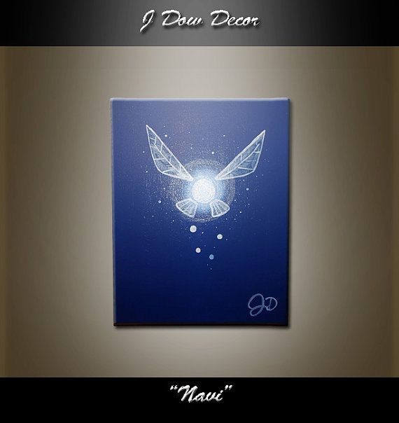 Zelda Navi Fairy Link Blue Mythical Wings Fairy Dust 8x10 Etsy Painting Wall Painting Cool Paintings