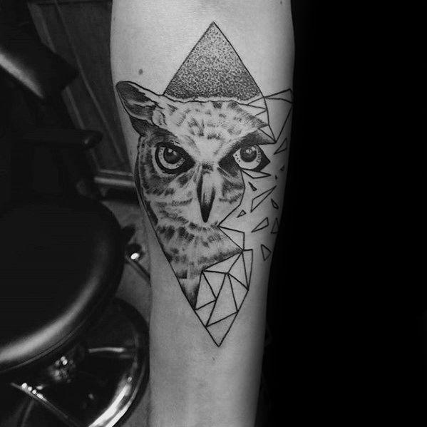 80 Geometric Owl Tattoo Designs For Men Shape Ink Ideas Geometric Tattoo Geometric Owl Tattoo Designs Men