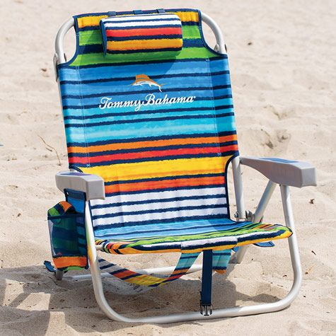 Tommy Bahama Backpack Folding Beach Chair In Blue Green Stripes