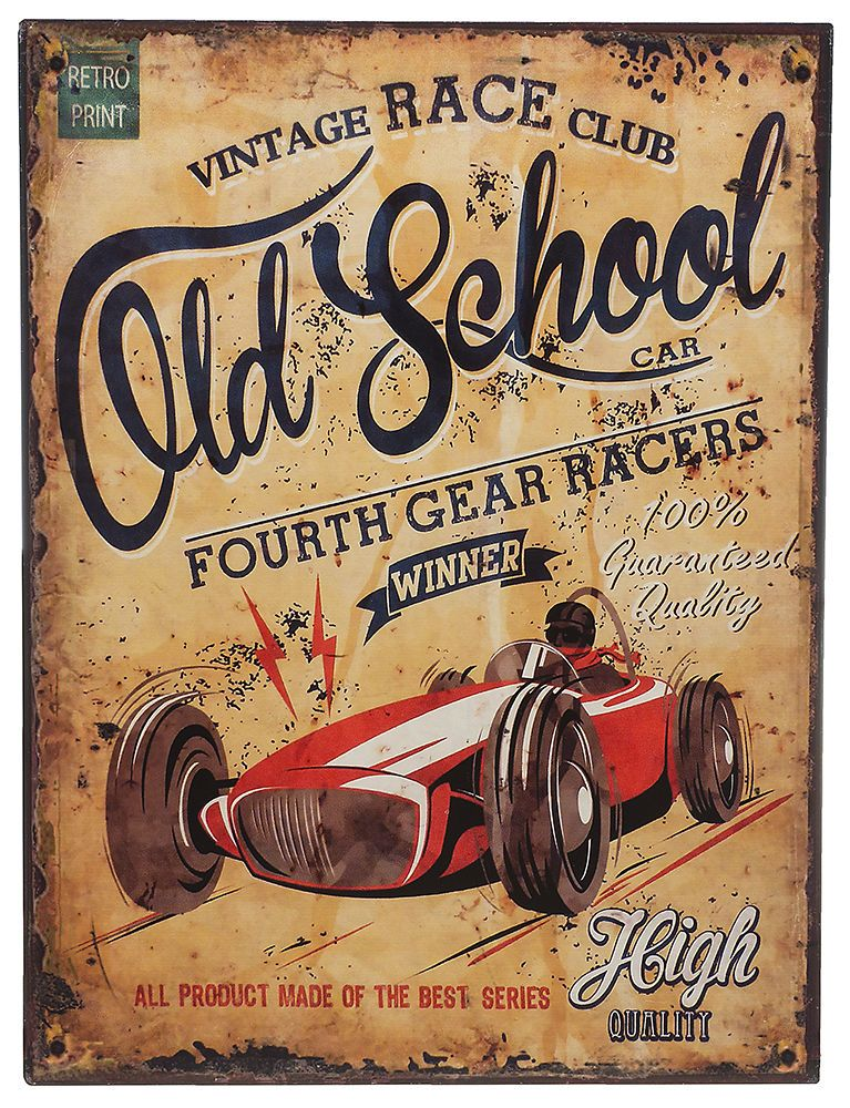 Retro Blechschild Old School Vintage Race Nostalgie Metallschild Wanddeko Us Car Retro Prints Old School School Posters