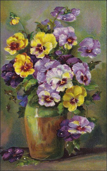 Vase Of Pansy Flowers Pu 1908 Flower Painting Floral Watercolor Pansies Flowers