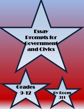The essay prompts included in this product will encourage your government and civics students to think critically and improve their writing skills. Each prompt requires students to form opinions on the topic and to back up that opinion with evidence and persuasive argument.