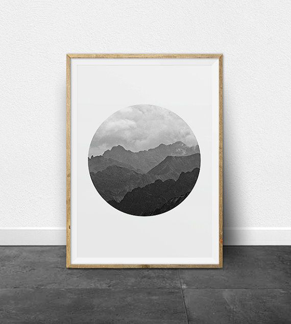 Black and white photography printable art mountain range ombre effect circle print