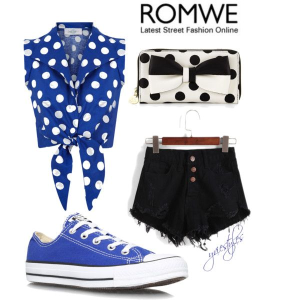 Blue + Short shorts by yviestyle on Polyvore featuring polyvore мода style Converse Betsey Johnson
