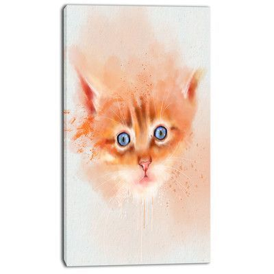 """DesignArt 'Cute Brown Cat Watercolor' Painting Print on Wrapped Canvas Size: 32"""" H x 16"""" W x 1"""" D"""