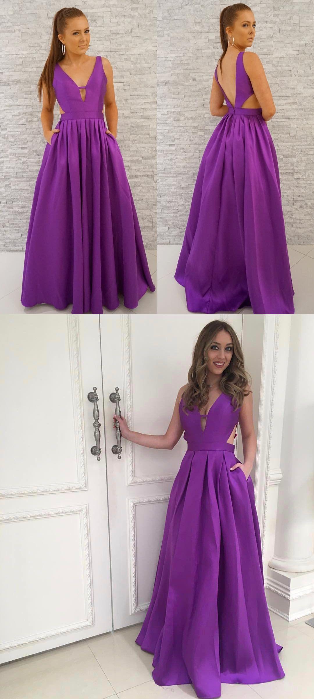 Prom dress with pockets prom dress purple long prom dress
