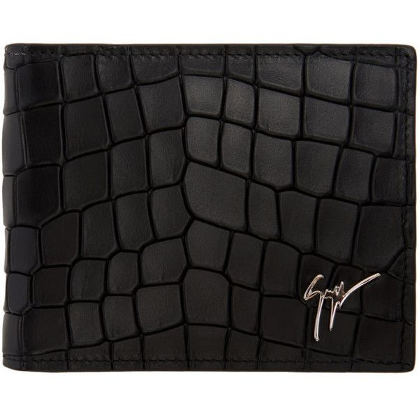 Giuseppe Zanotti Black Croc Embossed Zayn Wallet 1 100 Brl Liked On Polyvore Featuring Leather Wallet Mens Leather Credit Card Holder Leather Bifold Wallet