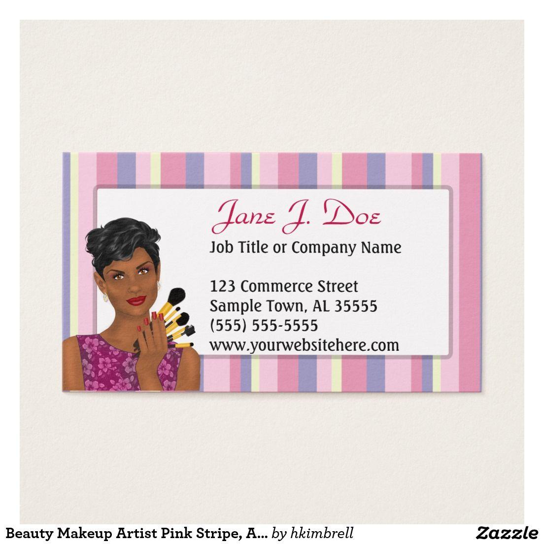 Beauty Makeup Artist Pink Stripe African American Business Card