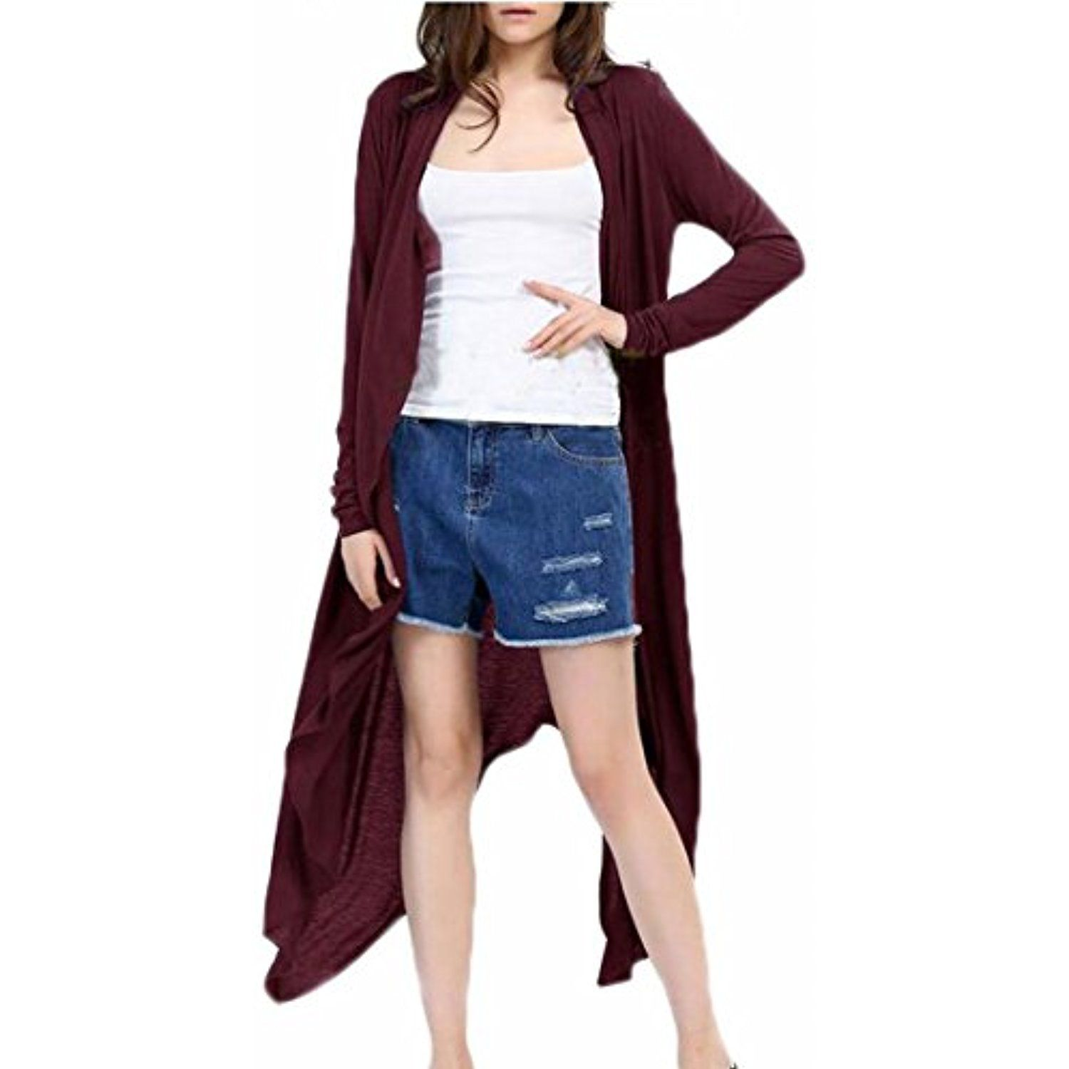 Women's Long Sleeve Draped Open Front Solid Spring Cardigan ...