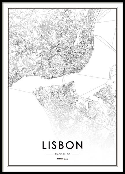Lisbon Map Poster In The Group Posters Prints At Desenio AB - Buy map posters