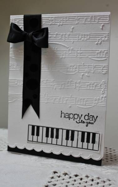 Black And White Birthday Card Musical Theme Elegant Look