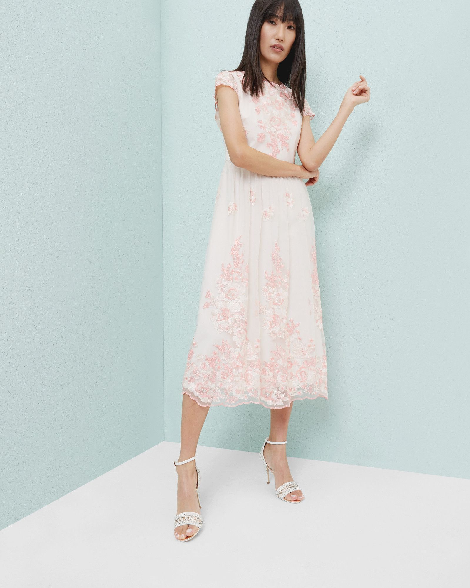 Embroidered midi dress - Baby Pink | Dresses | Ted Baker UK ...