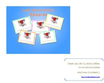Reward your students´skills whith these amazing 12 different diplomas for last day of the year....