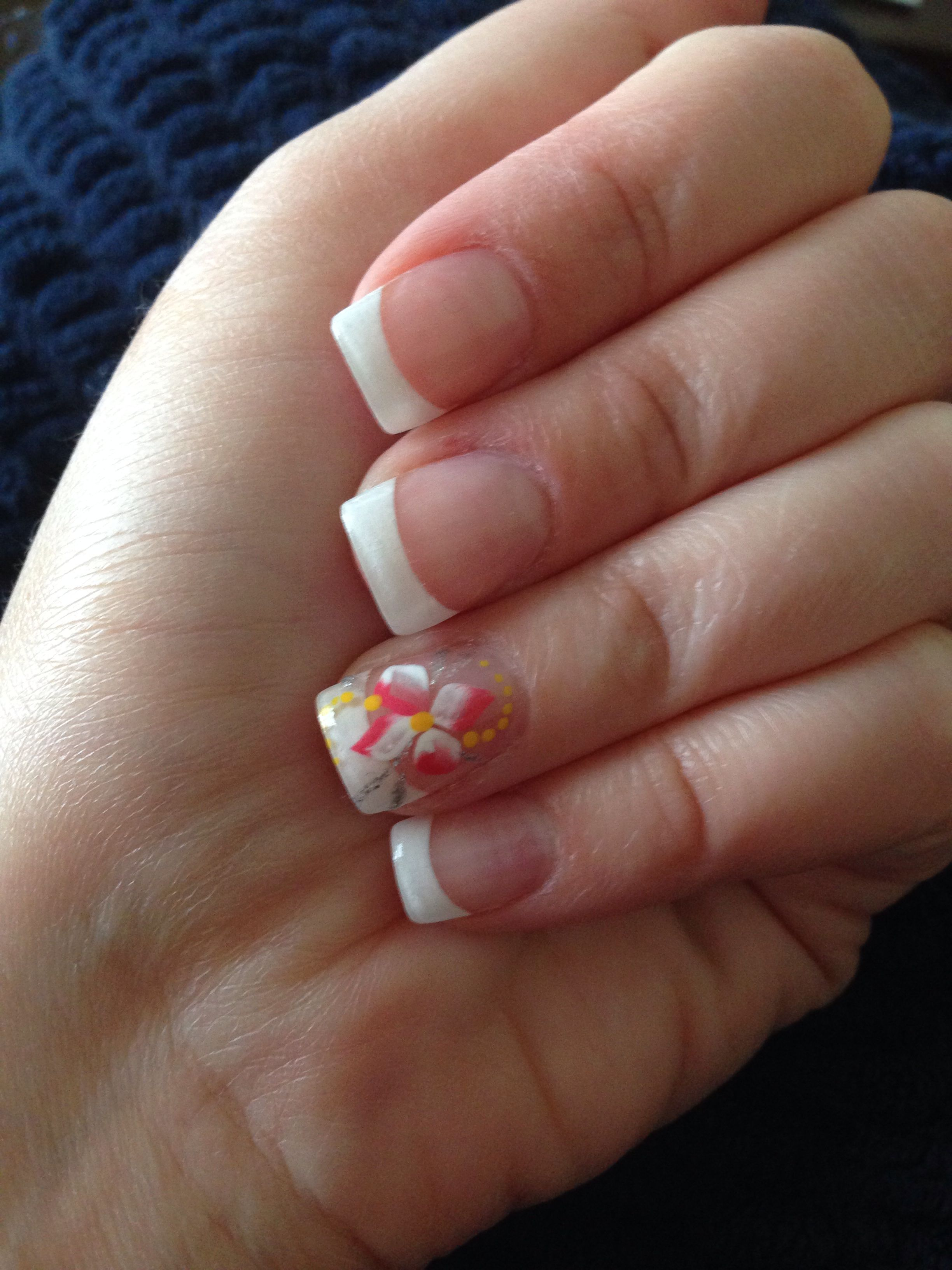 French manicure with flower accent nail. | nail art | Pinterest ...