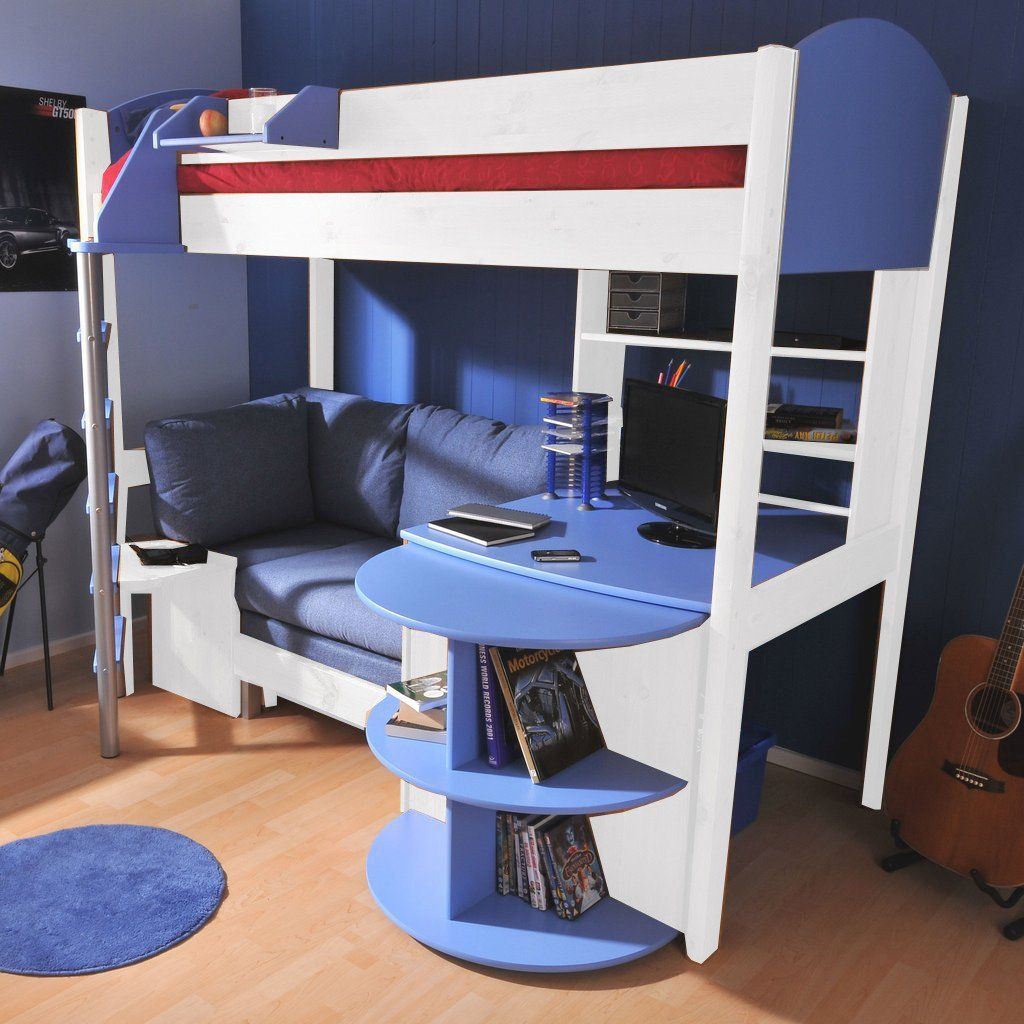 Loft bed with desk pottery barn  Stompa Casa  White High Sleeper with Sofa Bed u Pull Out Desk