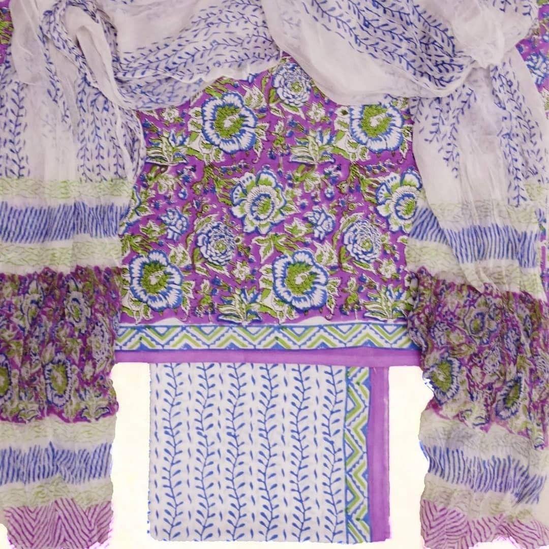 Cotton block printed dress fabric sets with chiffon