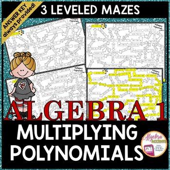 Multiplying Polynomials Mazes 3 Levels Algebra Ideas Math