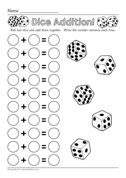 Dice Addition Worksheets Sb6050 Sparklebox Mathtricks