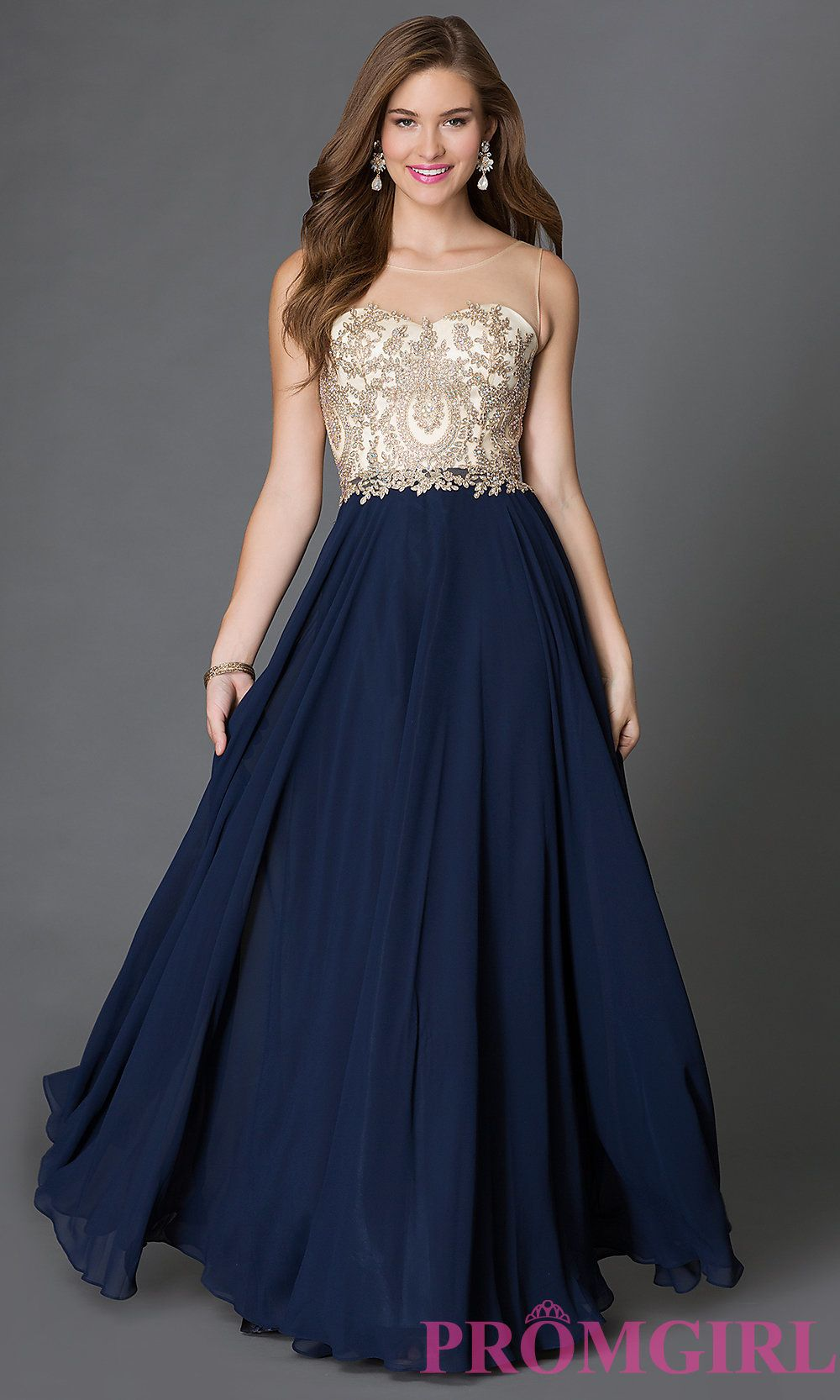 Long Sleeveless Prom Dress with Jeweled Sheer Bodice | Prom dress ...