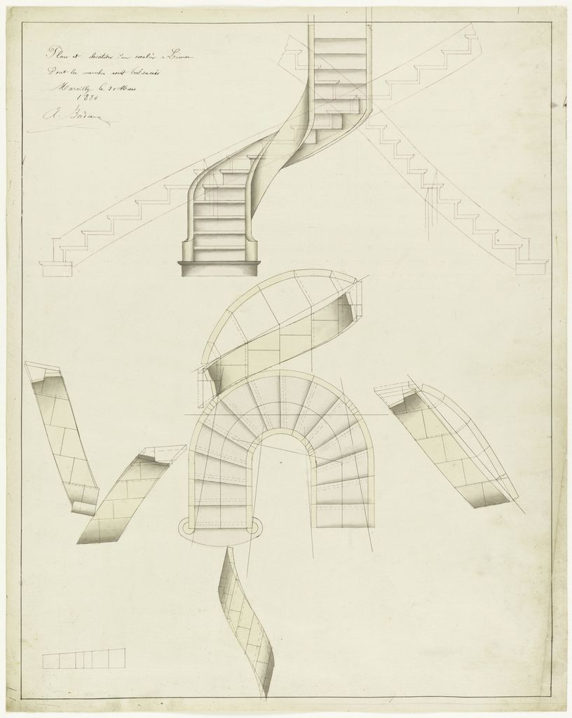 Plans And Designs Of Stairs And Staircases In Pink Wash One Curved Another U Shaped Spiral Staircase Plan Spiral Staircase Staircase