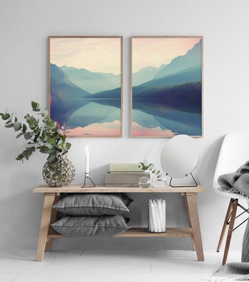 Lake Watercolor Painting Prints, Mountain Print, Landscape Wall Art, Printable Wall Art, Scandinavian Print, Living Room Wall Art