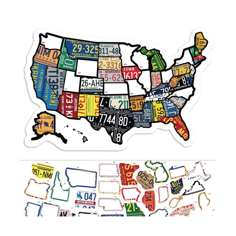 Rv State Sticker Travel Map 11 X 17 Usa States Visited Decal United States License Plate Non Travel Maps Window Stickers Stickers