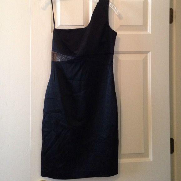 Black dress One shoulder satin dress Calvin Klein Dresses