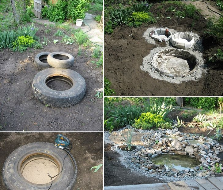 15 stunning diy water features to adorn your garden tire for Diy garden pond ideas