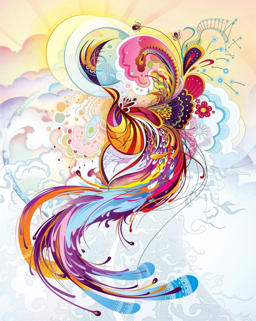Colorful phoenix tattoo designs - Abstract Phoenix Tattoo Art Style Very Pretty And Good Use Of Color