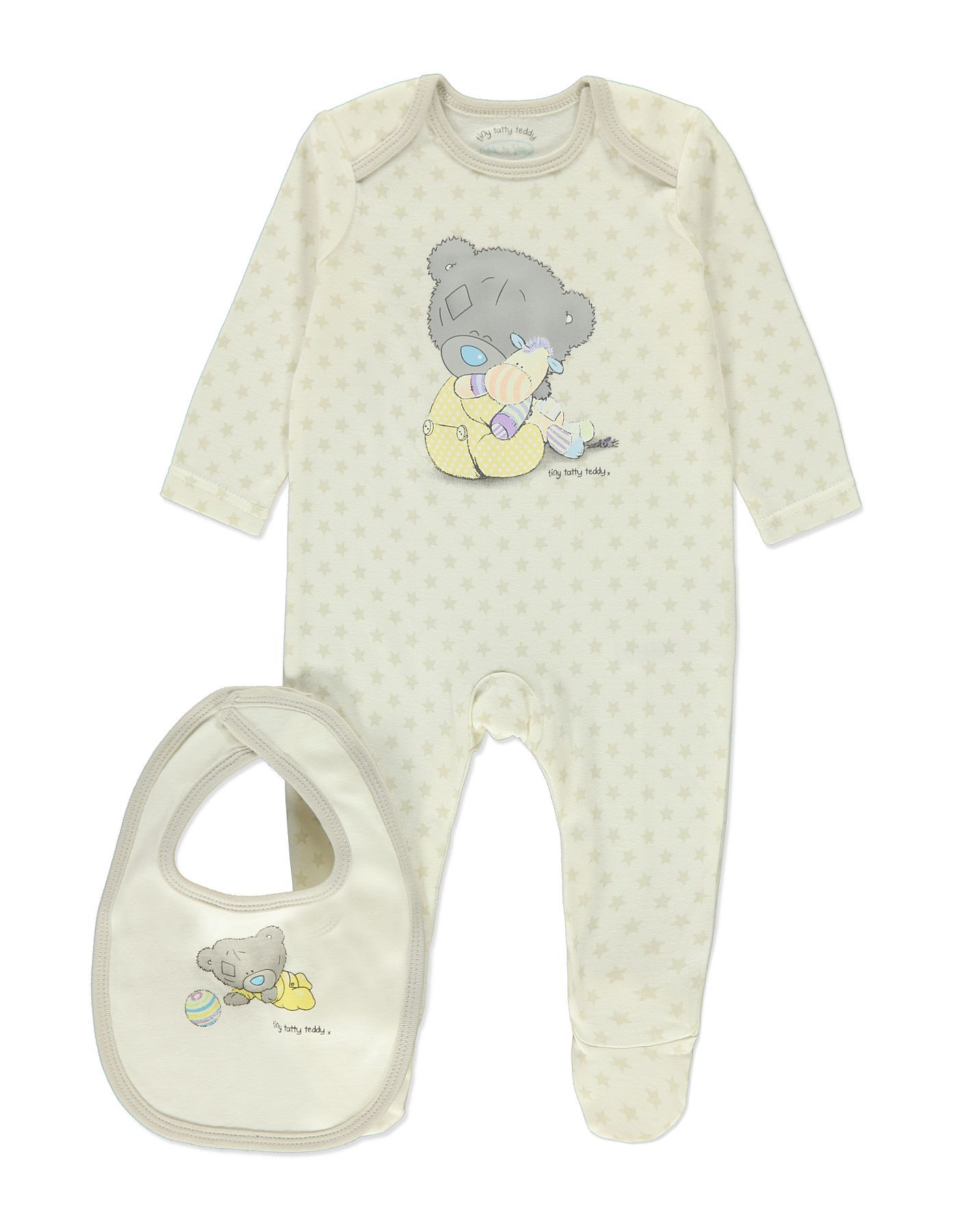 Uni Star Tiny Tatty Teddy Sleepsuit and Bib Set Baby