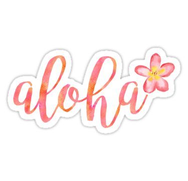 Aloha Hawaii Plumeria Watercolor Floral Sticker By Blueskywhimsy