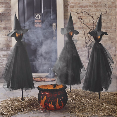 Set-of-3-Witches-Glowing-Outdoor-Halloween-Creepy-Decorations-Scary-Yard -Stakes - Set Of 3 Witches Yard Stakes Glowing Outdoor Halloween Creepy