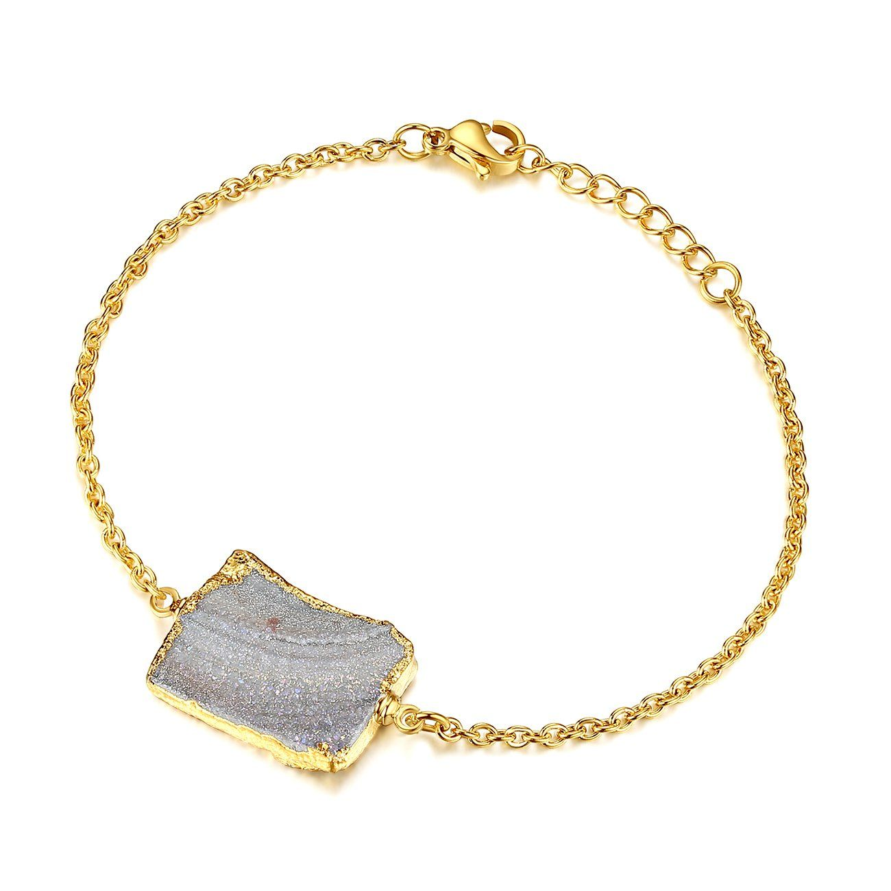 Jewellery Toughard Minimalist Handmade Natural Agate Druzy Charm