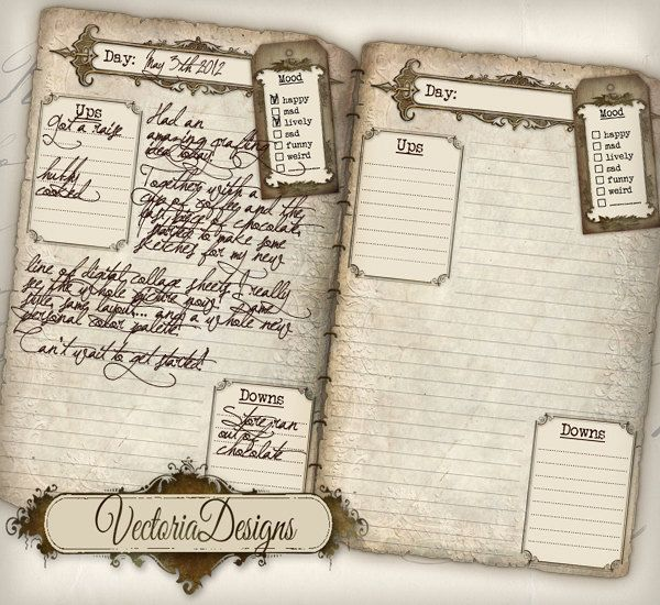 Printable Diary Pages Journal Pages Vintage Old Tattered Shabby - diary paper printable