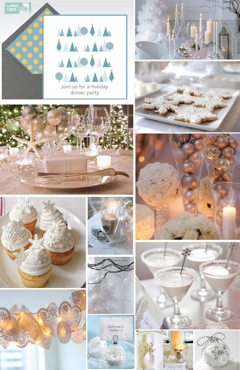 Winter Dinner Party Ideas Part - 27: Christmas Party Ideas - Winter Party - All White U0026 Ice Blue W/ Snowflakes,