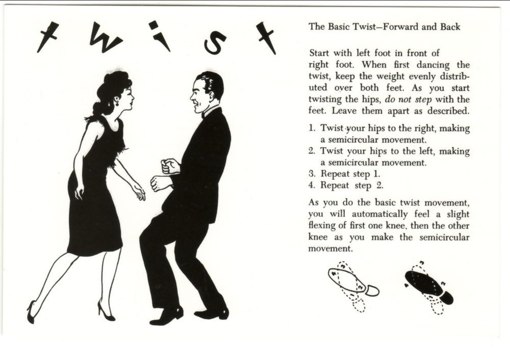 postcard of the twist dance steps diagram  continentalsizechromeerapostcard
