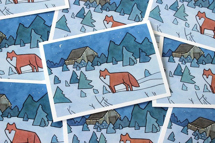 Fox Christmas Cards, Christmas Tree Farm Cards | Christmas & Holiday ...