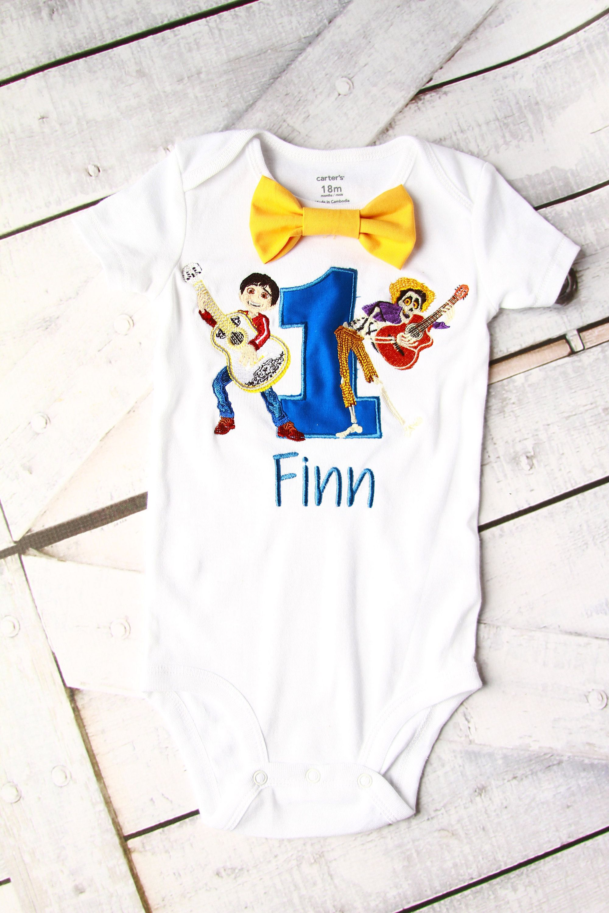 Baby First Birthday Disney Coco Hector Miguel Themed Cake Smash Outfit Boy 1st One Year Bow Tie Onesie Shirt By LoveAndLollipopsBaby