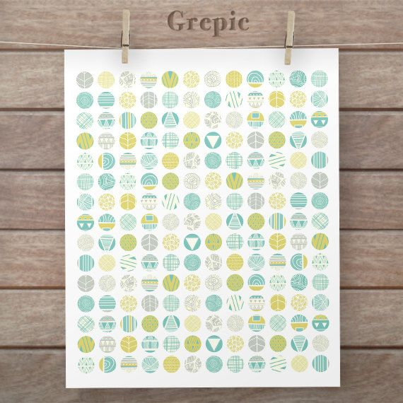 Digital downloads: 12mm circles TRIBAL SPRING collage by Grepic ...