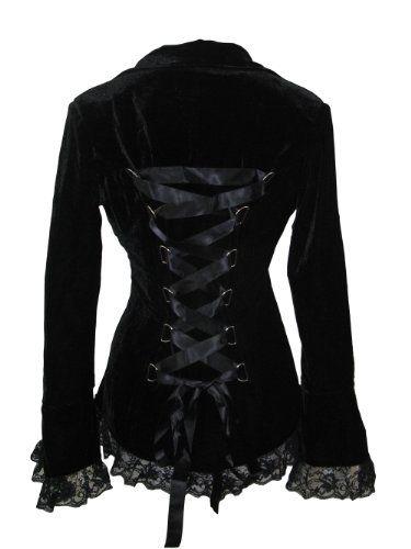 Cool Skelapparel Gothic Victorian Black Corset Velvet Jacket