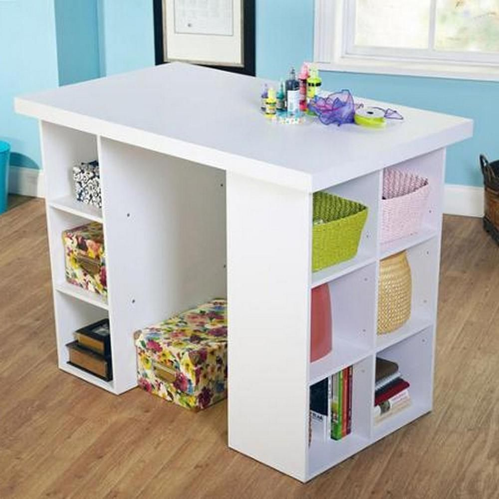 White Craft Table 4 Adjustable Shelves Working Table Counter Height Craft Desk Knutselkamers Naaikamers Desk