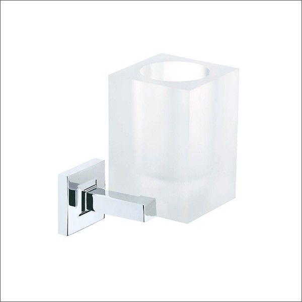 Linea Dado portabicchiere da bagno in ottonecromato e