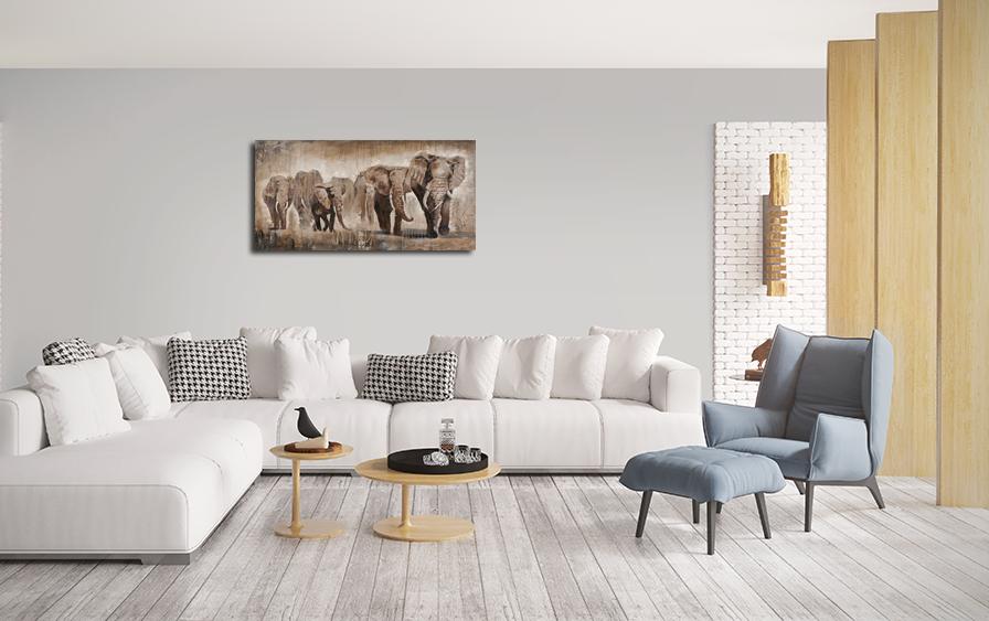 Schilderij olifanten 70x140 | Pinterest - Olifanten, Woonkamer ...