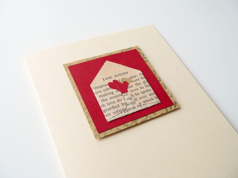 Handmade valentine card jane austen love letter in red and cream