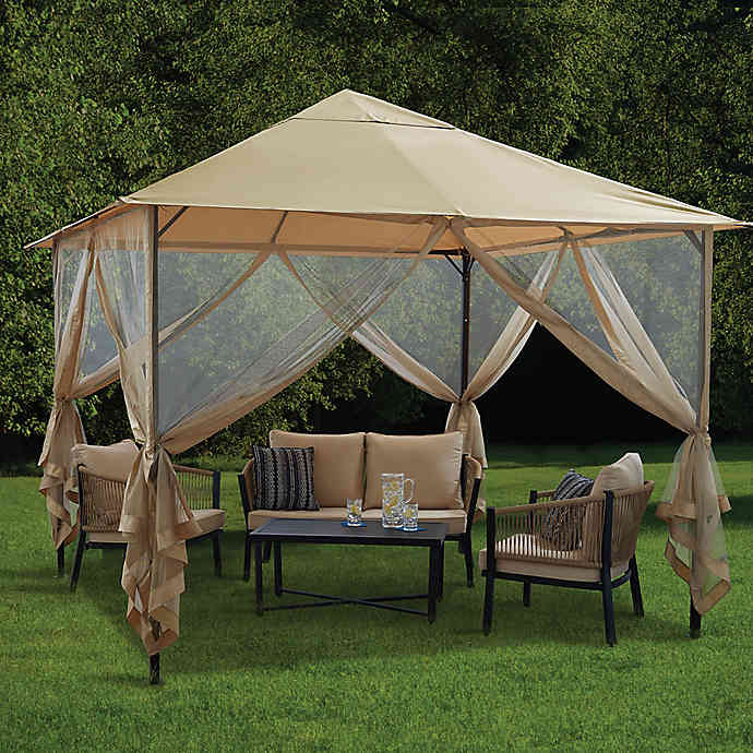 Destination Summer 10 Foot X 10 Foot Steel Double Tiered Gazebo In Neutral In 2020 Outdoor Sun Shade Gazebo Gazebo Canopy