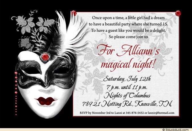 Mystique Party Invitation Black White Dramatic Event