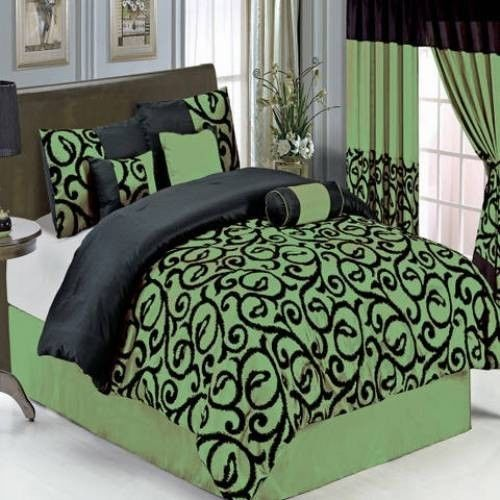 11 Piece Bed In A Bag Sage Black Add Matching 3 Pc Curtain Set