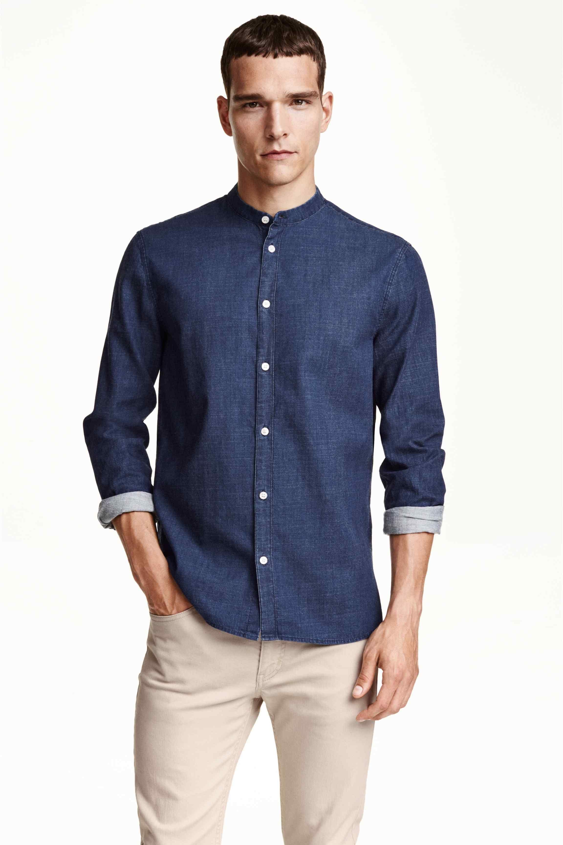 reputable site famous brand info for Chemise à col mao | H&M en 2019 | Chemises habillées pour ...