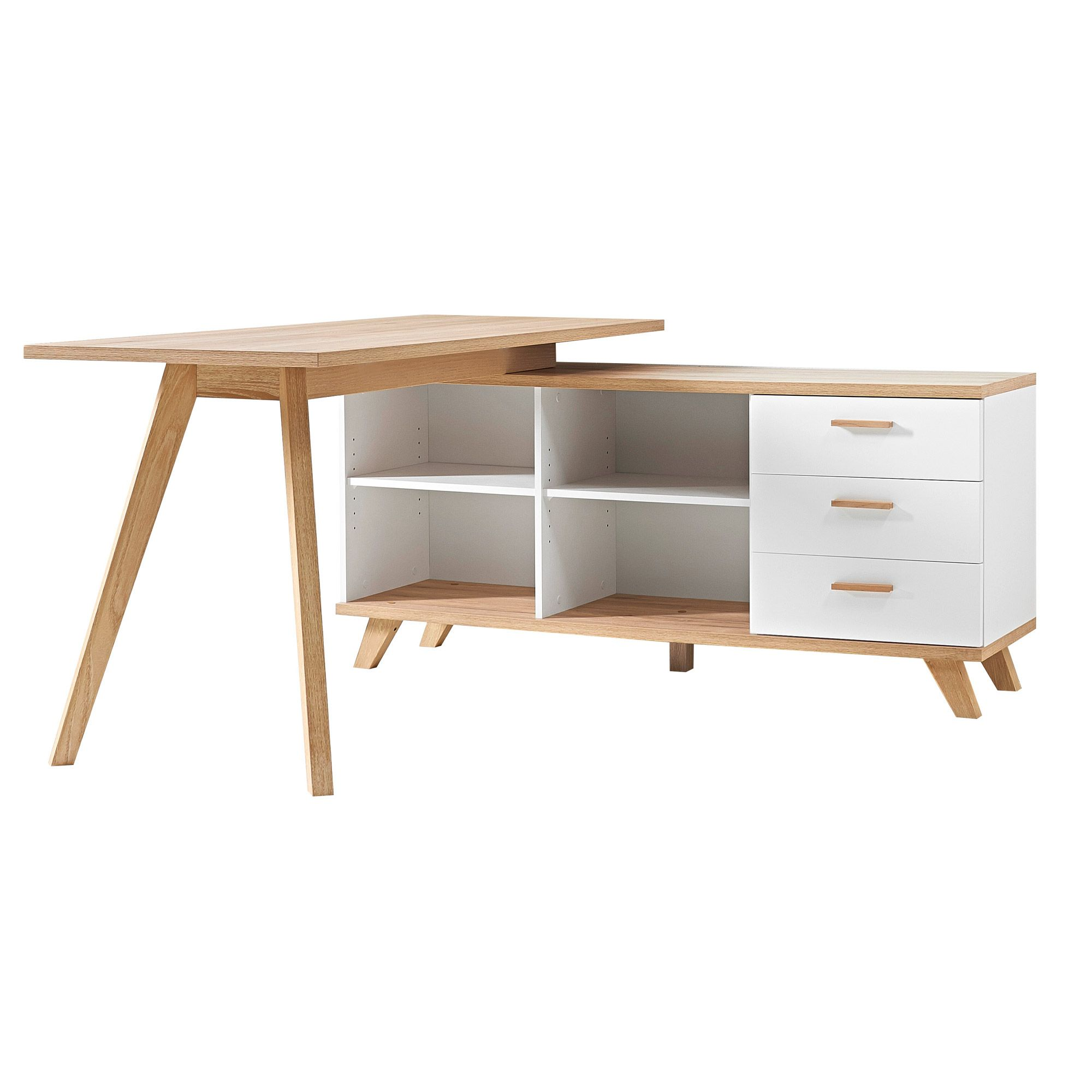 bureau d 39 angle en bois avec 4 niches 3 tiroirs oslo bureau scandinave atelier bureau. Black Bedroom Furniture Sets. Home Design Ideas