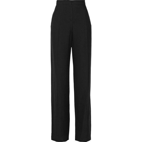 Valentino Silk-crepe wide-leg pants (1.435 BRL) ❤ liked on Polyvore featuring pants, black, black wide leg trousers, highwaist pants, black pants, high waisted wide leg trousers and black trousers